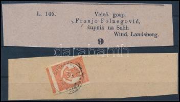 1872 Kőnyomat Hírlapbélyeg teljes újságszalagon, felül levágva, a többi oldalon szép szélekkel WINDISCH-LANDSBERG rendkívül ritka darab RRRR! (80.000+++)