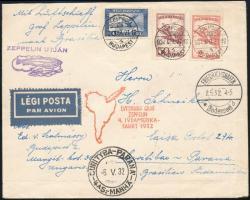1932 ápr. 27. Zeppelin levél 4. Dél-Amerikai repülése BUDAPEST - PANAMA (Brazília) RR!