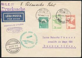 1932 márc. 29. Zeppelin 2. Dél-Amerikai repülés BUDAPEST - BUENOS AIRES szép és ritka darab RR!