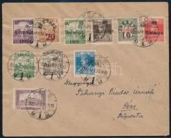 Baranya 1920 Helyi levél 6 db megszállási + 4 db magyar bélyeg vegyes bérmentesítéssel PÉCS R!