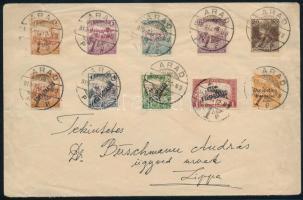 Arad 1919 máj. 12. Távolsági levél 10 bélyeges bérmentesítéssel ARAD - Lippa R!