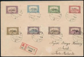 Fiume 1919 febr. 20. Ajánlott levél 8 db klf Parlament bélyegekkel bérmentesítve, közte 10K is, Bodor vizsgálójellel RRR!