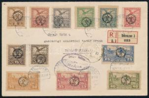 Debrecen II 1920 Ajánlott levél 12 bélyeggel bérmentesítve DEBRECEN - PALLAGPUSZTA RRR! Flasch fotós tanúsítvánnyal