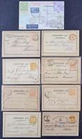 Min. 140 db küldemény, zömmel díjjegyes levelezőlapok 1871-1900, sok érdekes bélyegzés és előfutárok is, dobozban