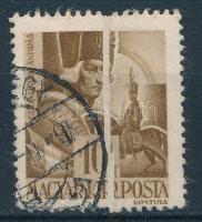 1943 Hadvezérek 10f látványos, a teljes bélyegképen átfutó papírránccal