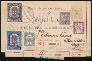 1916 Ajánlott távirat lap Németországba küldve, többszörös cenzúrával, összesen 1,20K előlapi bérmentesítéssel, takarékbélyeg ill. vöröskereszt levélzáró beszámításával. Egyedülálló postatörténeti küldemény!