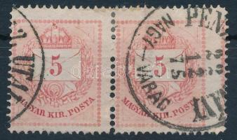 1874 5kr pár látványosan szélesre fogazva, R!