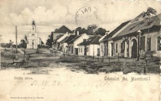 1903 Aranyosmarót, Zlaté Moravce; Zöldfa utca, üzlet, templom. Kiadja Brunczlik Imre / street view, shop, church (EK)