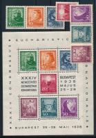 1938 Eucharisztikus blokk + blokkból kitépett bélyegek (14.900)