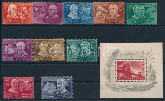 1948 Feltalálók-felfedezők sor + Lánchíd (I.) blokk (rozsdás + gumihiba) (31.200)