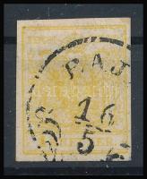 "1kr MP III chrome yellow ""BAJ(A)"" Certificate: Steiner, 1kr MP III krómsárga bélyeg ""BAJ(A)"" Certificate: Steiner"