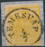 "1kr HP III candium yellow, Papierkorn ""TEMESVÁR"" Certificate: Steiner, 1kr HP III kadmiumsárga, Papierkorn ""TEMESVÁR"" Certificate: Steiner"