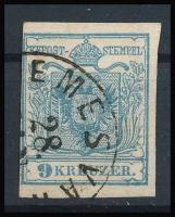 """9kr HP I gray-blue Dr Magistris P140 """"(T)EMESVÁ(R)"""" Certificate: Steiner, 9kr HP I szürkéskék Dr Magistris P140 """"(T)EMESVÁ(R)"""" Certificate: Steiner"""
