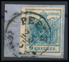"9kr MP III blue, diagonal paint stripe ""PESTH"" Certificate: Steiner, 9kr MP III kék, átlós festékcsík a bélyegképben ""PESTH"" Certificate: Steiner"