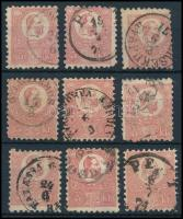 1871 Kőnyomat 5kr 9 db bélyeg: színváltozatok, típusok, bélyegzések (63.000+++)