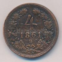 1861B 4kr Cu T:2-,3 patina Adamo M7