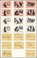 20 db német gyufacímke árnyképek és autogramsorozat, lapra ragasztva