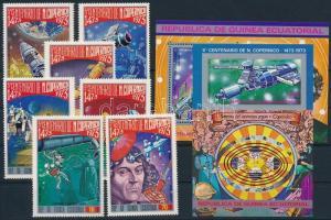 Copernicu, space research set + block pair, Kopernikusz, űrkutatás sor + blokk pár