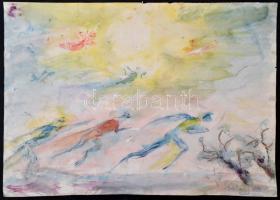 Antal Irén (1903-1999): Ellenszélben, akvarell, papír, jelzett, 35×50 cm