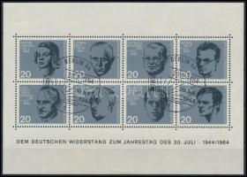 Resilients block with Berlin special cancellation, Ellenállók blokk, berlini alkalmi bélyegzéssel