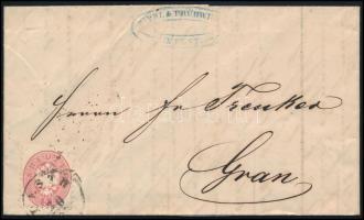 1866 5kr levélen PESTH - GRAN