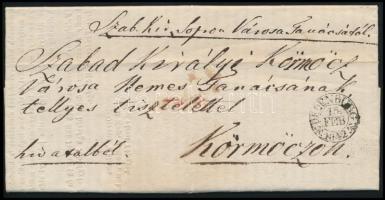 1842 Sopron város tanácsnak körlevele más városi törvényhatóságokhoz (jelen esetben Körmöcbányának), melyben a tervezett Bécs-Trieszt vasútvonal Magyarországon át vezetése mellett áll ki, és az ország érdekének szem előtt tartása miatt kéri más városok támogatását. Laitner Ferenc polgármester, táblabíró és Ertl Nep. János főjegyző sk. aláírásával