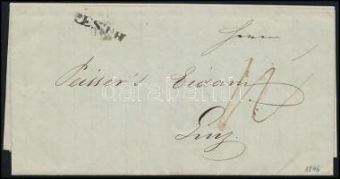1846 Portós levél ,,PESTH - Linz