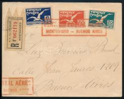 1926 Légi ajánlott levél / Registered airmail cover MONTEVIDEO - BUENOS AIRES