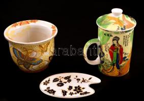 Kínai porcelán tétel ( 3 db), tálka, váza, teaszűrős csésze, kopás nyomokkal vázán lepattanással, kézzel festett, kettő jelzett, 12×8, m:9 és 15 cm