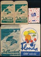 cca 1940 5 db gyógyszertári gyógycukorka reklámos papírtasak és címke (1 db) / pharmacy pills bags and labels