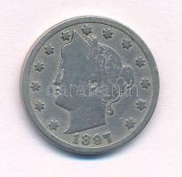 Amerikai Egyesült Államok 1897. 5c Cu-Ni Liberty T:2-,3  USA 1897. 5 Cents Cu-Ni Liberty C:VF,F  Krause KM#112