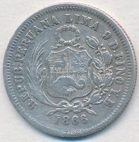 Peru 1866YB 1/5S Ag T:2-  Peru 1866YB 1/5 Sol Ag C:VF Krause KM#191