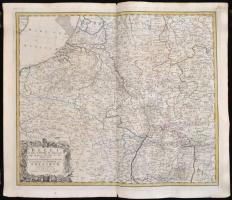 1748 Belli ab obitu Caroli VI imperatoris usque ad pacem Dresdae ... factam tam in Germania quam Belgio ob successionem Austriacum gesti theatrum geographice delineatum, az osztrák örökösödési háború csatái, részben színes rézmetszet, papír, Lorenz Jacob Kraus -- Homannis heredes, felcsavarva, a hajtás mentén kis sérüléssel, 53×62 cm