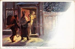 Krampusz és Mikulás / Krampus with Saint Nicholas. Nicolo Serie, Verlag von Rafael Neuber Wien VII. s: E. Döcker