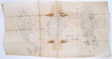 XIX. sz. Ulm erdélyi település telkeinek kézzel rajzolt térképe pausz papíron / Hand drawn map of Transylvanian village 70x40cm