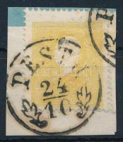 """2kr dark yellow Type II, nice print """"PESTH"""" Certificate: Steiner, 2kr sötétsárga II. típus, szép nyomat, élénk szín """"PESTH"""" Certificate: Steiner"""