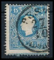 "15kr II blue, with St. Andrews cross part ""PEST(H) / Aben(ds)"" Certificate: Steiner, 15kr kék II, látványos andráskereszt végződéssel ""PEST(H) / Aben(ds)"" Certificate: Steiner"
