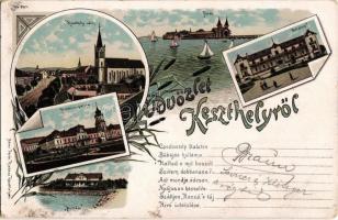 1900 Keszthely, látkép, Festetics palota, kastély, Hullám és Balaton szálloda. Mérei Ignác No. 687. Art Nouveau, floral, litho