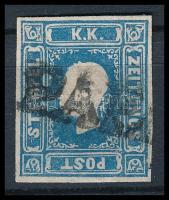 """lue Newspaper stamp type I., Ladurner, R! """"PÁPA"""" Certificate: Steiner, Kék Hírlapbélyeg I. típus varratvízjellel, rendkívül ritka darab! R! """"PÁPA"""" Certificate: Steiner"""