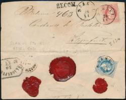 ~1868 5kr + festékhiányos 10kr ajánlott levélen / 5kr + 10kr dry print, on registered cover SZAKUL - Klagenfurt