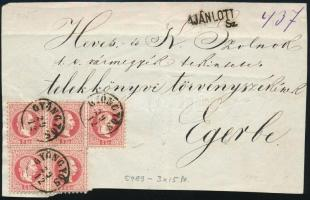 ~1868 5 x 5kr ajánlott levél előlapon (pár + hármascsík) / on registered cover front GYÖNGYÖS - Eger