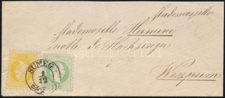 ~1868 2kr + 3kr levélen / on cover SÜMEG (2 hajtóka hiányzik)