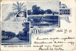 1899 (Vorläufer!) Aceh, Atjeh; De Groeten van Atjeh, Laan in de Kraton, Hoofsport Kraton / main port and street. Art Nouveau greeting postcard from the Dutch East Indies era (fa)