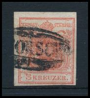 3kr carmine red, highlighted middle part, plate flaw