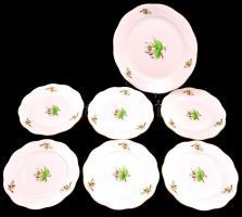 Herendi csipkebogyó mintás készlet, 6+1 db tányér, kézzel festett, jelzett (tanuló), apró kopásokkal, d: 19 ill. 26 cm
