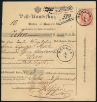 1871 5kr díjjegyes pénzutalvány / PS-money order PERLAS