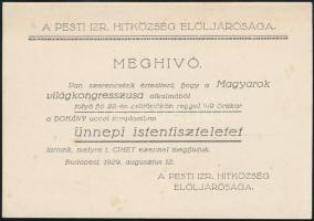 1929 Magyarok Világkongresszusa alkalmából tartott ünnepi istentisztelet meghívója a Dohány utcai zsinagógába.
