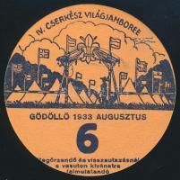 1933 Jamboree Gödöllő utazási kitűző, 6. altábor / Jamboree paper badge for discounted rail travel, Camp 6