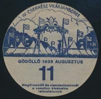 1933 Jamboree Gödöllő utazási kitűző, 11. altábor (szakadással) / Jamboree paper badge for discounted rail travel, Camp 11 with tear