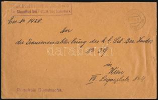 1916 Tábori posta levél / Field post cover K.u.k. RESERVESPITAL Wrschowitz in Sternthal bei Pettau Süd Steiermark